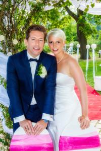Hochzeitsfoto mit dem Brautpaar