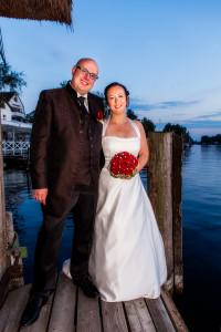 Hochzeitsfoto am Tegeler See im Abendrot
